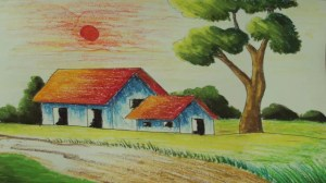 scenery easy drawing landscape nature simple painting beginners paintings drawings draw colour getdrawings pastel oil fresh pencil kerala village very