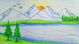 scenery easy drawing nature draw mountain