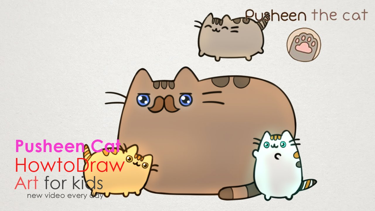 hight resolution of 1280x720 how to draw pusheen cat father s day step by step drawing for kids