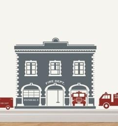 1344x1075 fire station fire house fire trucks vinyl sticker decal original [ 1344 x 1075 Pixel ]
