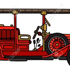 1300x649 hand drawing of a vintage fire truck royalty free cliparts [ 1300 x 649 Pixel ]