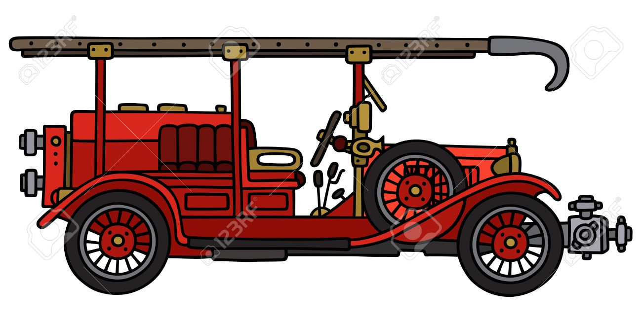 hight resolution of 1300x649 hand drawing of a vintage fire truck royalty free cliparts