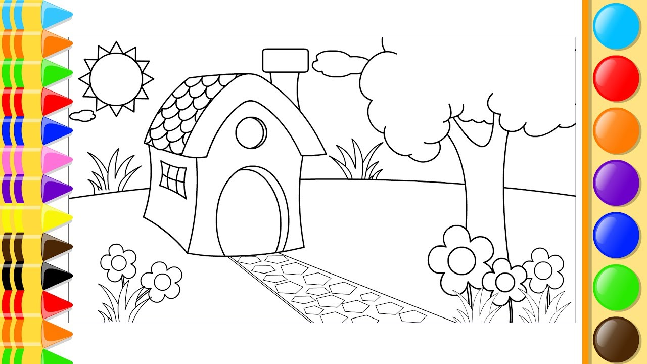 garden drawing for kid