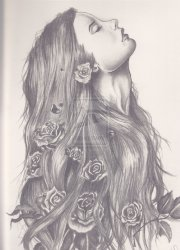 girl with flowers in hair drawing