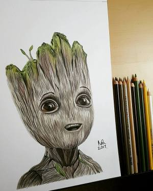 groot drawing sketch draw pencil babygroot portrait getdrawings deviantart professional