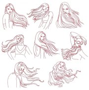 hair blowing in wind drawing