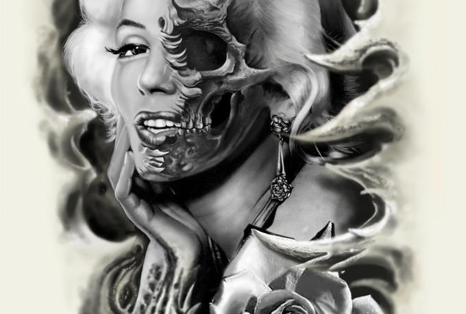 Half Tattoo Girl Skull Half