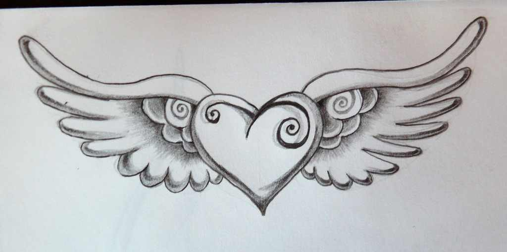 Heart With Angel Wings Drawing At GetDrawings.com