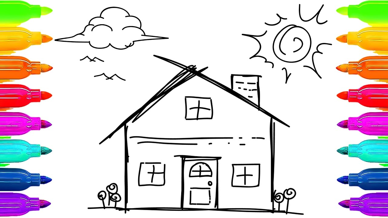 house for kids drawing