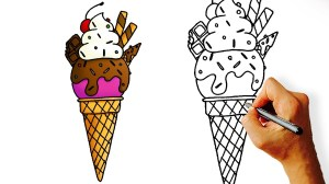 ice cream cartoon drawing draw easy cones drawings getdrawings paintingvalley