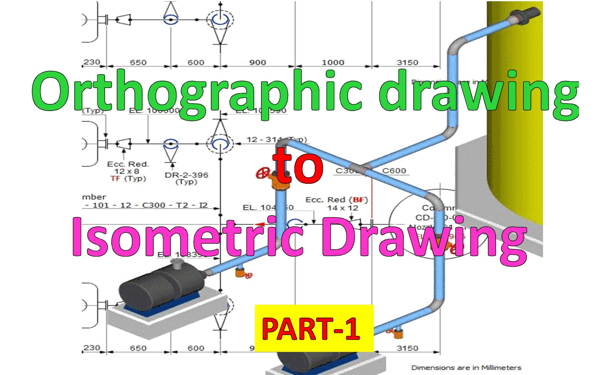 hight resolution of 2469x1510 piping draw isometric drawing from orthographic drawing part 1