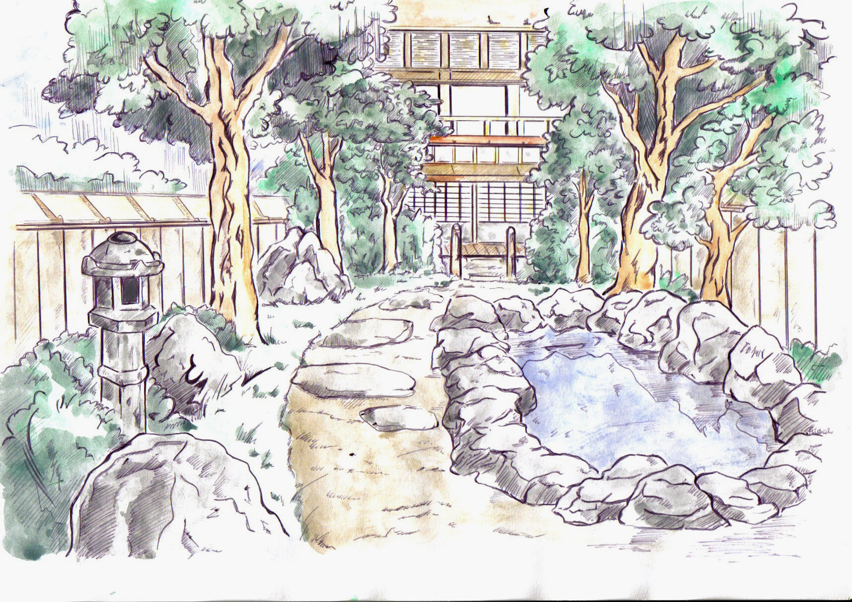 Japanese Garden Drawing At Getdrawings