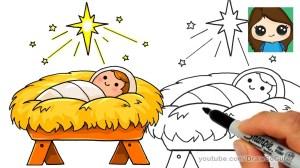 jesus star drawing bethlehem manger nativity draw easy scene simple drawings christmas cartoon story getdrawings doodles