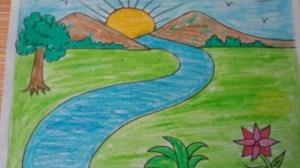 drawing simple landscape scenery drawings getdrawings