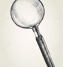 919x1300 sketch illustration of a magnifying glass royalty free cliparts [ 919 x 1300 Pixel ]