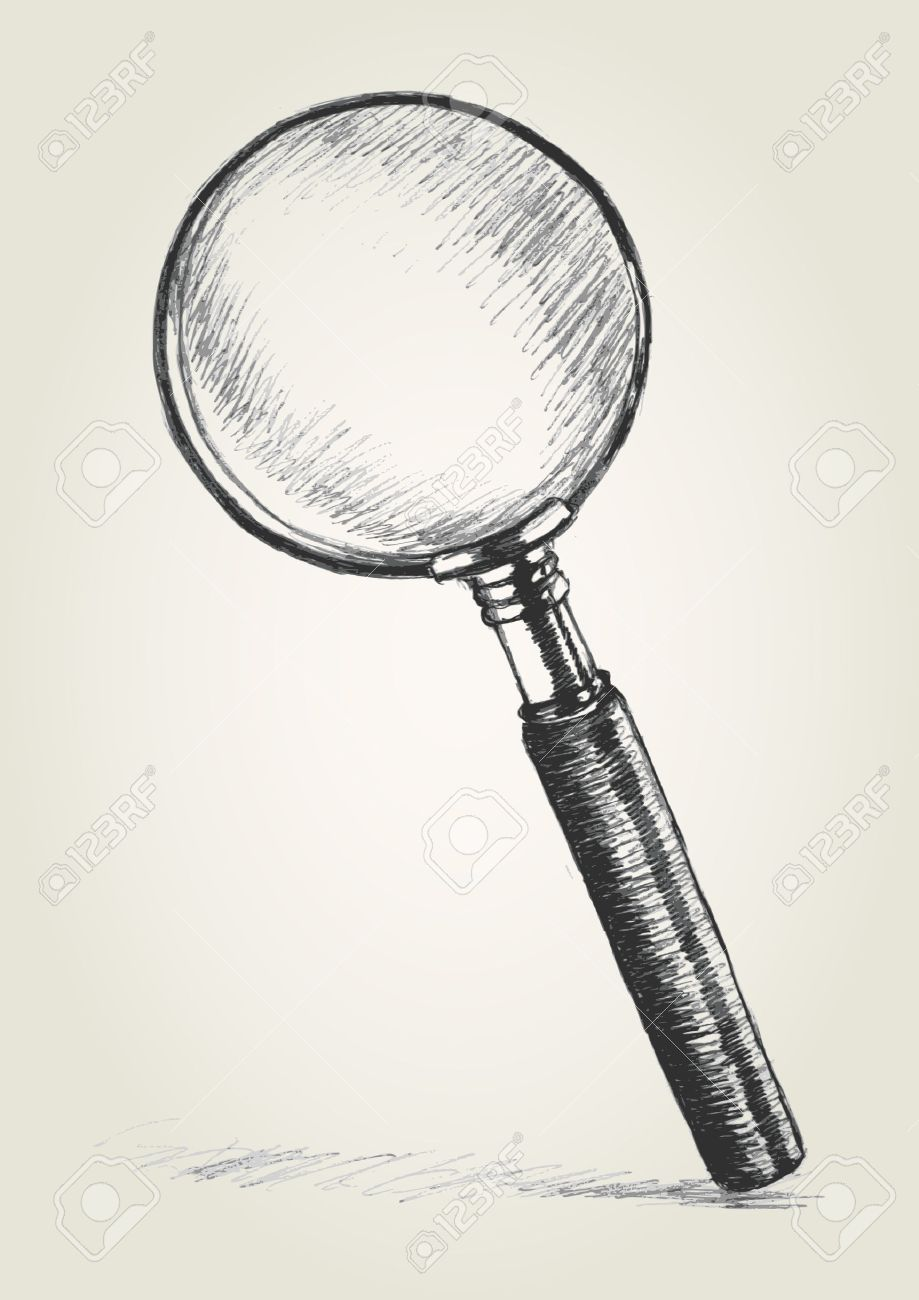 hight resolution of 919x1300 sketch illustration of a magnifying glass royalty free cliparts
