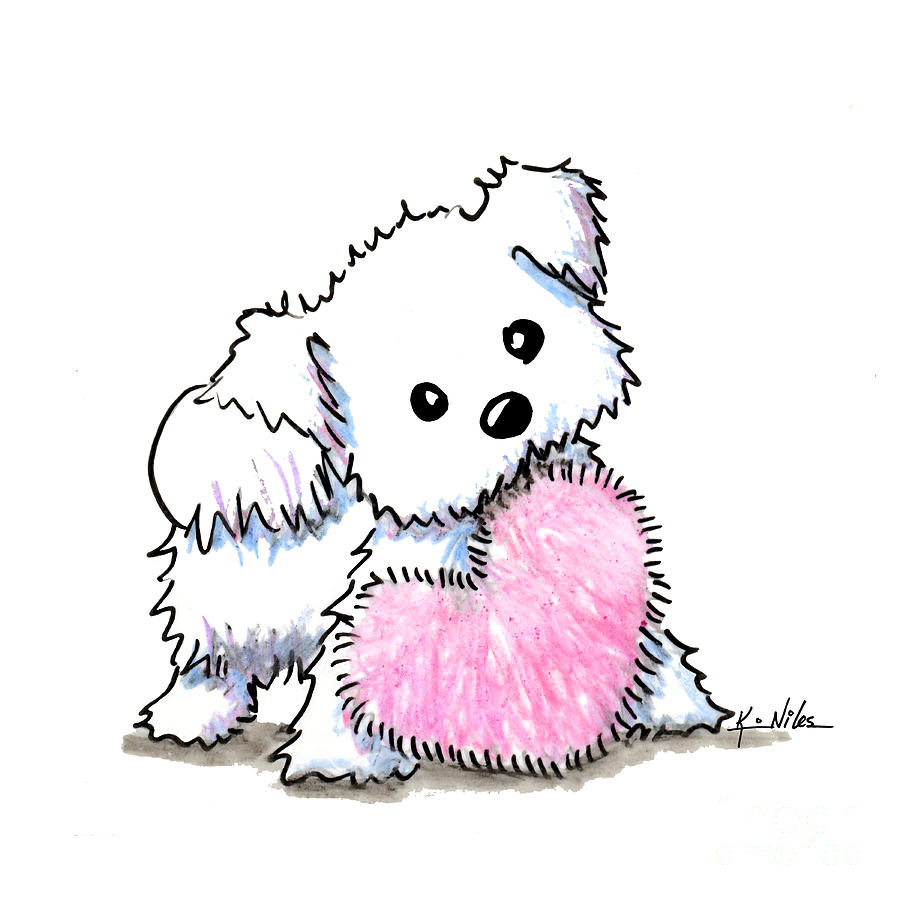 medium resolution of 900x900 maltese heart n soul puppy drawing by kim niles