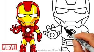 marvel iron drawing drawings superheroes chibi draw superhero cartoon easy step avengers super heroes hero kawaii getdrawings characters sketches character