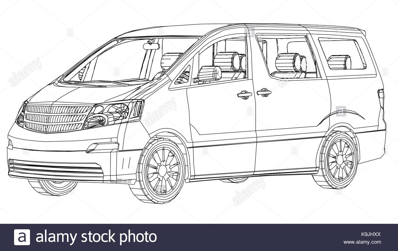hight resolution of 1300x821 minivan car abstract drawing wire frame eps10 format vector