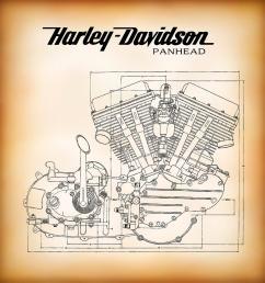 882x900 panhead harley davidson motor company engine digital art by daniel [ 882 x 900 Pixel ]