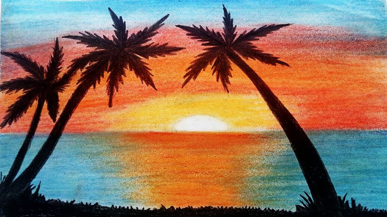 Easy Drawing Tree And Sunset