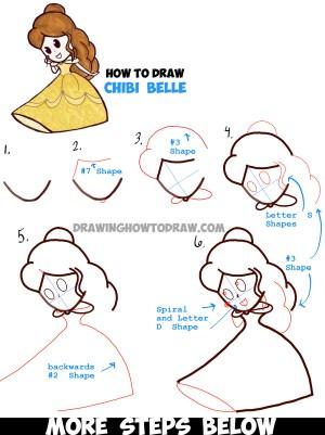princess disney easy drawings drawing belle step chibi draw cartoon beast simple beauty princesses tutorials tutorial getdrawings learn drawn kawaii