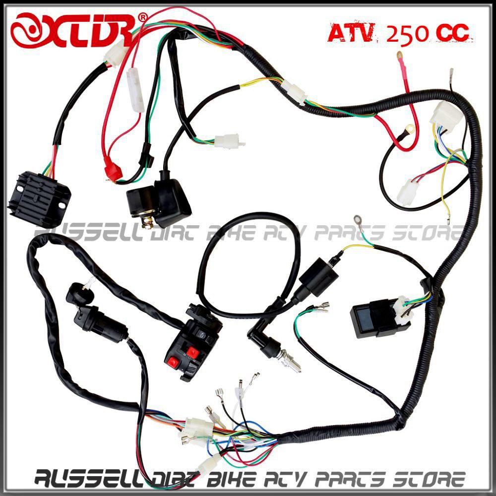 medium resolution of 1000x1000 complete electrics wiring harness atv quad 4 wheeler 200cc 250cc