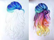 rainbow hair drawing