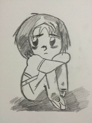sad drawing pencil sketch couple anime easy simple colour mood drawings sketches paintingvalley heart getdrawings face