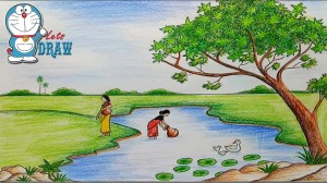 scenery cartoon drawing pond draw nature easy step very ghat pencil simple drawings sketch landscape farjana sketches getdrawings academy