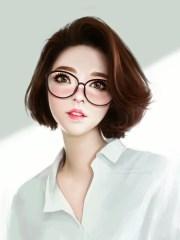 short hair girl drawing