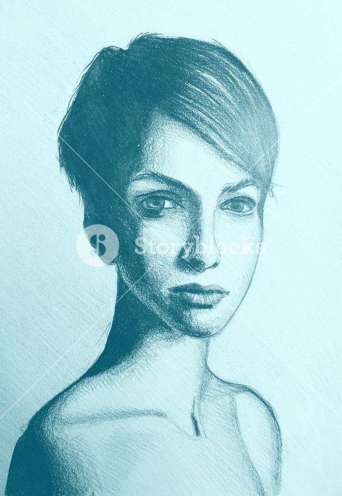 Drawings Of Girls With Short Hair : drawings, girls, short, Short, Drawing, GetDrawings, Download