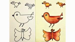 birds simple drawing easy draw getdrawings
