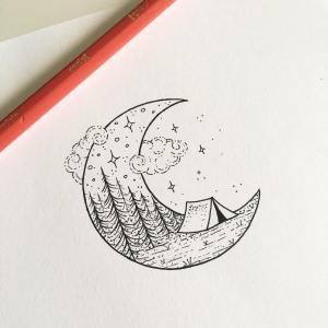 moon drawing tattoo drawings friday zum dm happy claim bilder illustration doodle simple instagram tattoos circle zeichnen peta designs heffernan
