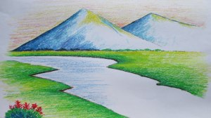 landscape mountain easy drawing simple pastel beginners oil draw landscapes drawings scenery mountains pastels paintings sketch drawingartpedia himalaya nature painting