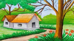 nature drawing painting simple village draw getdrawings adult paintingvalley