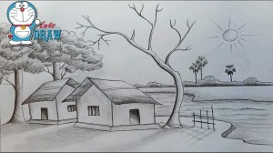 nature drawing sketch easy scenery sketches getdrawings