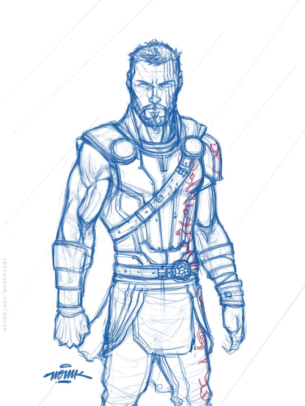 Thor Drawing Easy : drawing, Ragnarok, Drawing