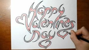valentines happy drawing valentine sketch cool writing getdrawings