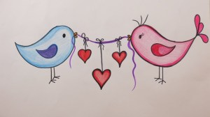 valentine draw birds hearts diy holding drawing valentines getdrawings
