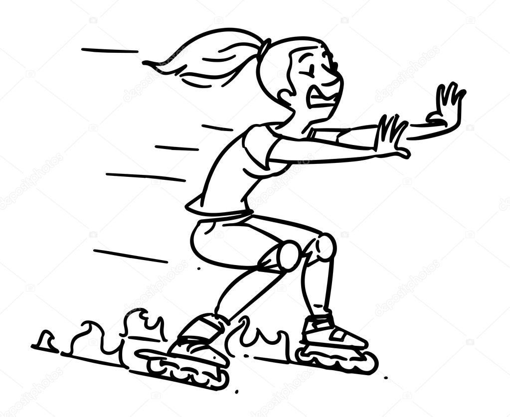 1023x837 roller skates accident girl on inline skates cartoon sketch