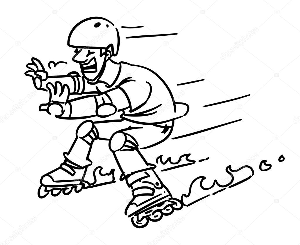 1023x837 roller skates accident man on inline skates cartoon sketch