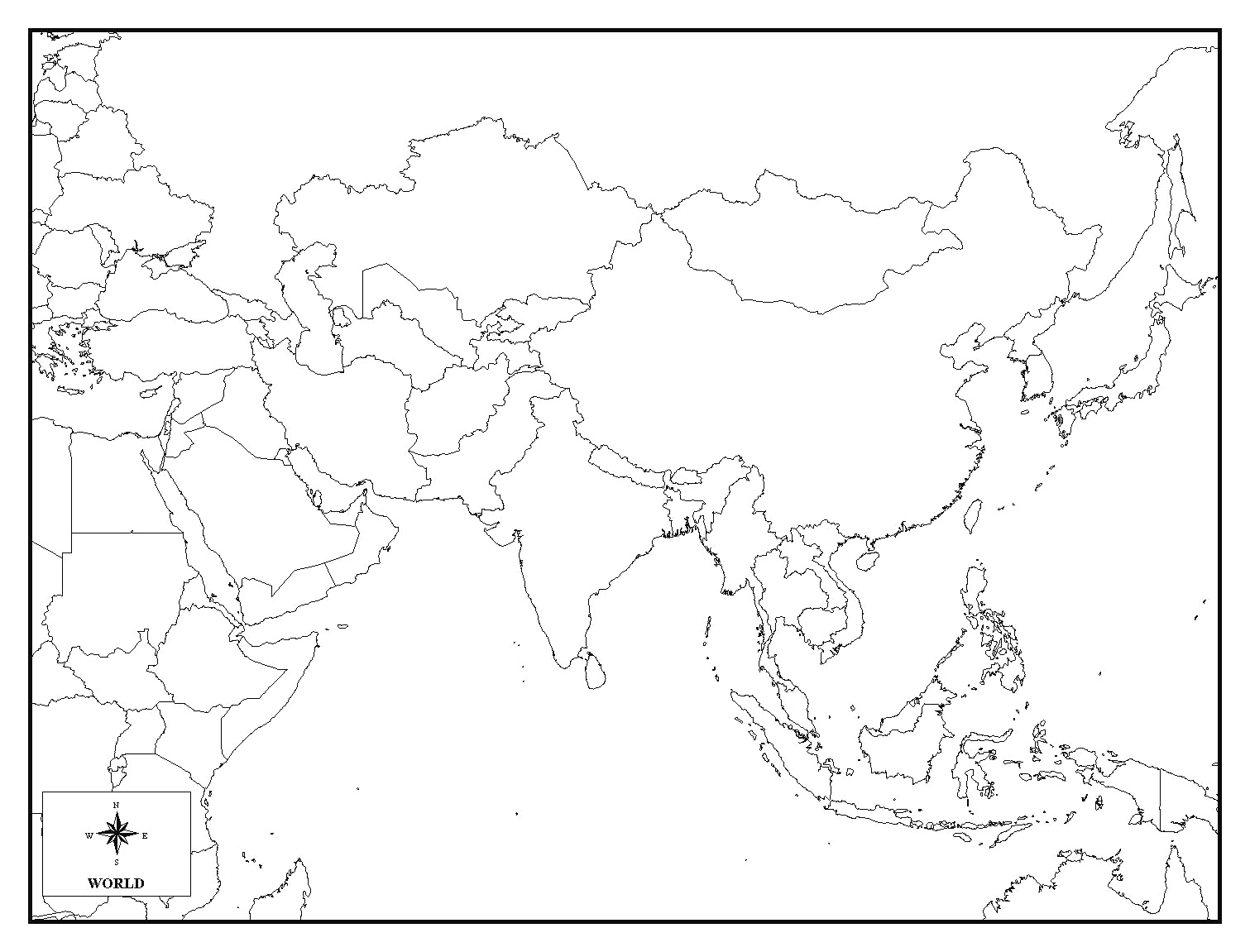 Asia Map Drawing At Getdrawings