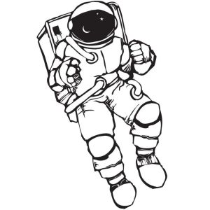 astronaut space drawing drawings astronauts coloring draw simple line stickers wall sticker sketches decal pages cool theme children clipart