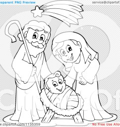 1080x1024 cartoon of an outlined joseph virgin mary and baby jesus nativity [ 1080 x 1024 Pixel ]