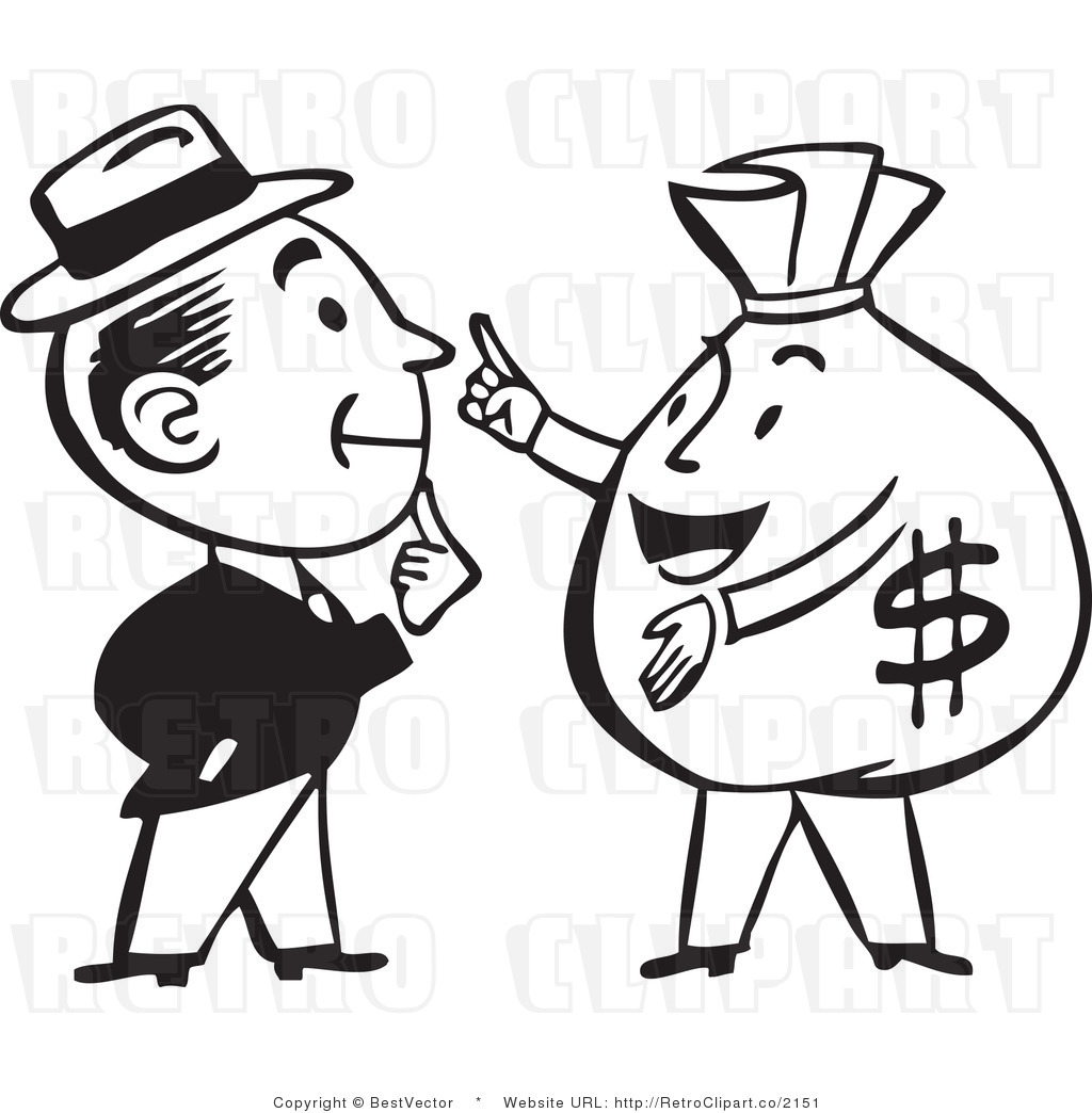 hight resolution of 1024x1044 retro man talking to a big money bag character bestvector