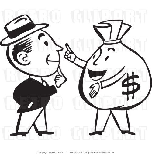 small resolution of 1024x1044 retro man talking to a big money bag character bestvector