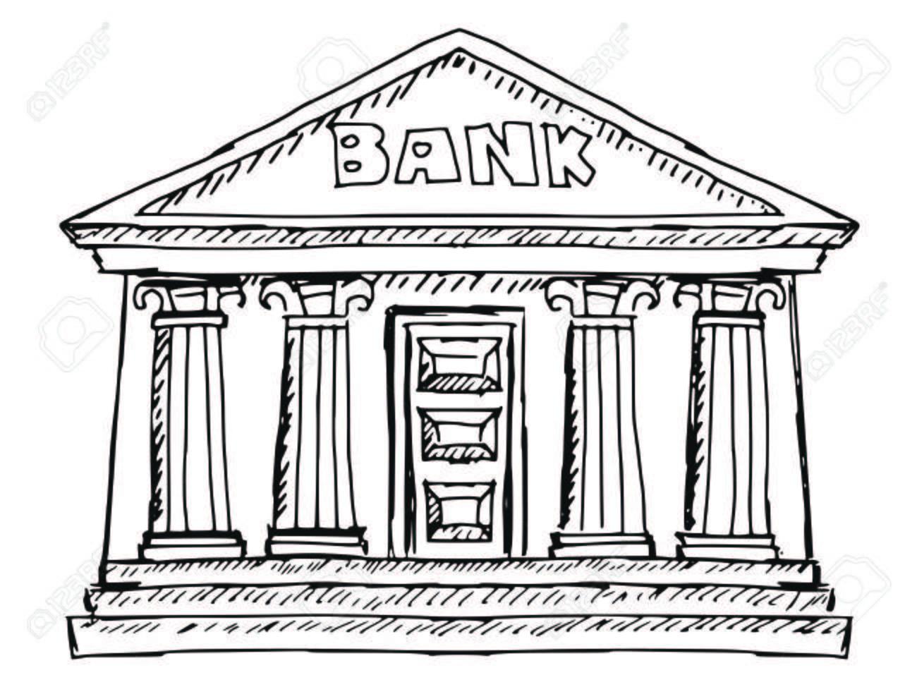 Bank Building Drawing At Getdrawings