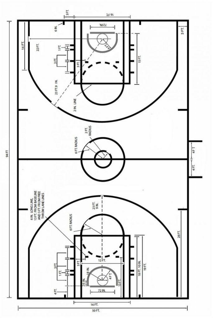 Court Basketball Coaches Dimensions Box