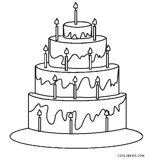 Round Cake Sketch Coloring Pages